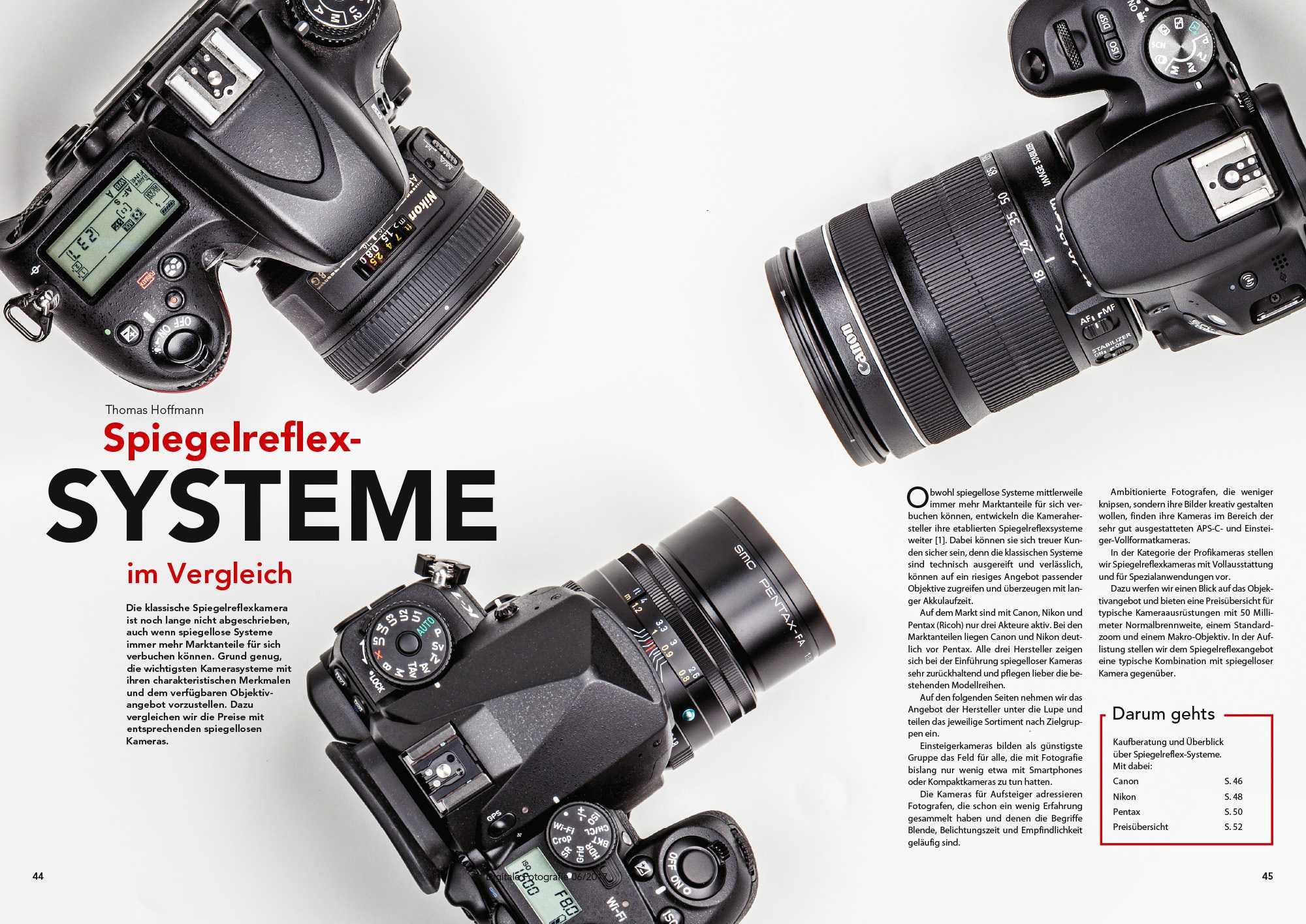 Ob für Ein- oder Aufsteiger, Semi- oder Vollprofis: Unsere DSLR-Kaufberatung gibt einen Überblick über die aktuellen Modelle von Canon, Nikon und Pentax.