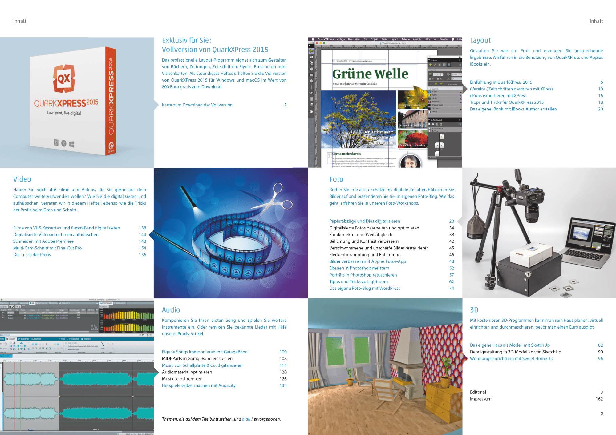 c't Kreativ arbeiten bringt Workshops zu den Themen Video, Foto, Audio, 3D und Layout sowie eine Vollversion von QuarkXPress 2015.