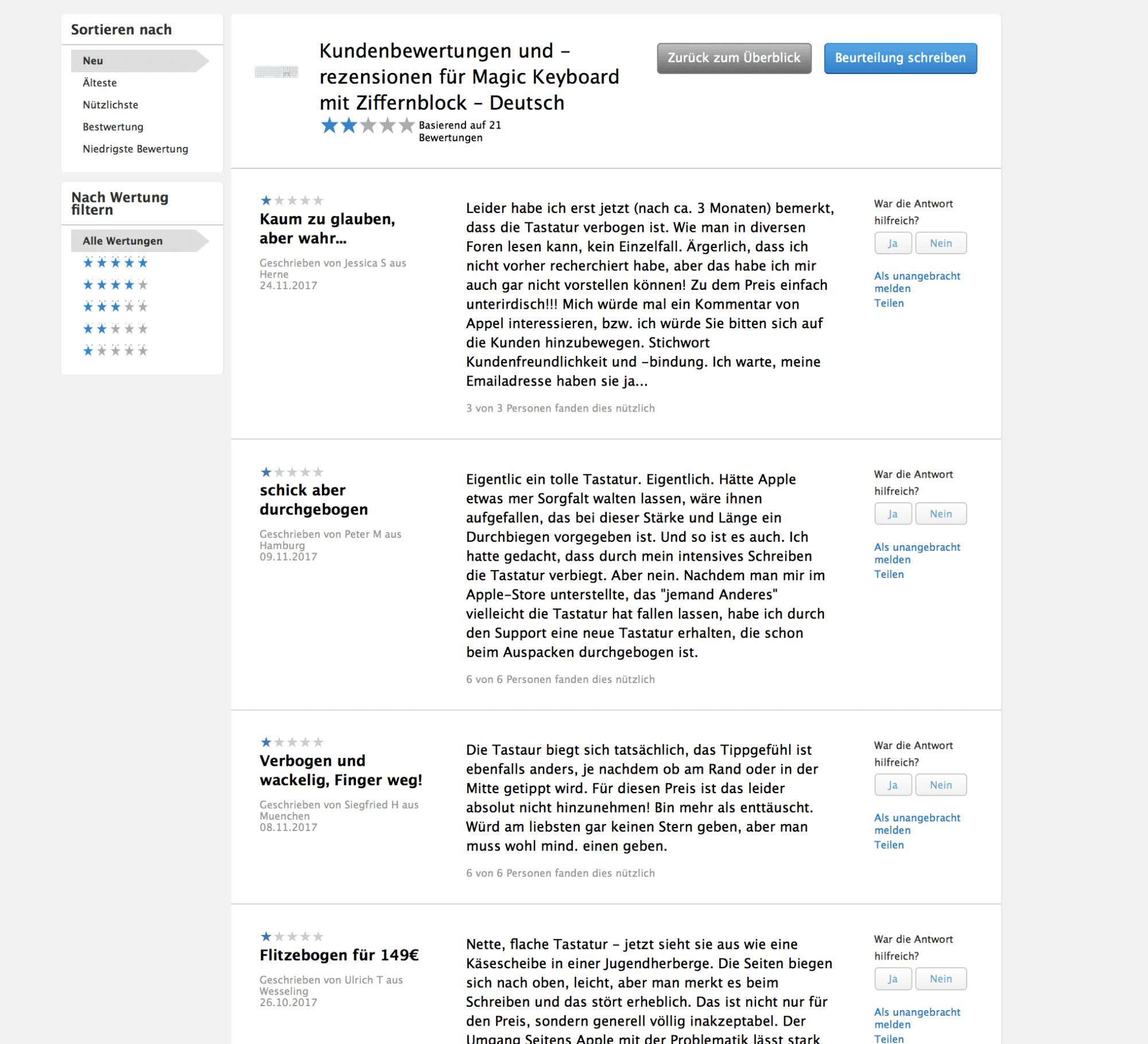 1-Sterne-Bewertungen von Käufern der Tastatur im Apple Store.