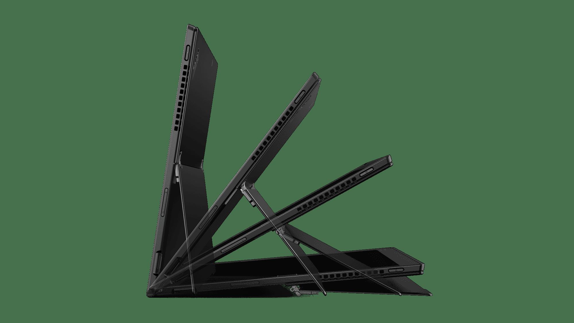 Der integrierte Ständer des X1 Tablet erlaubt beliebige Aufstellwinkel.