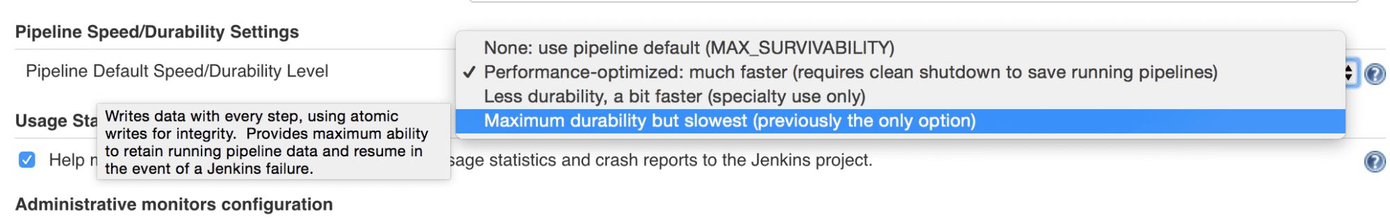 Die neuen Durability-Einstellungen in Jenkins