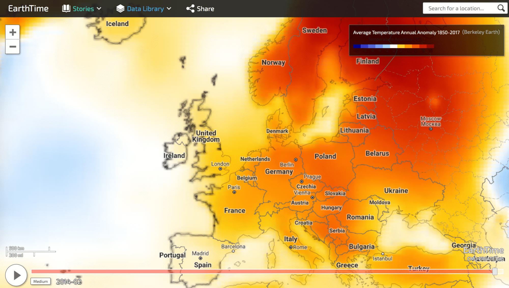 Temperaturanomalie: EarthTime nutzt Daten für ein grafisches Overlay über die Weltkarte und zeigt hier eine realtiv zu hohe Temperatur für einen Zeitraum.