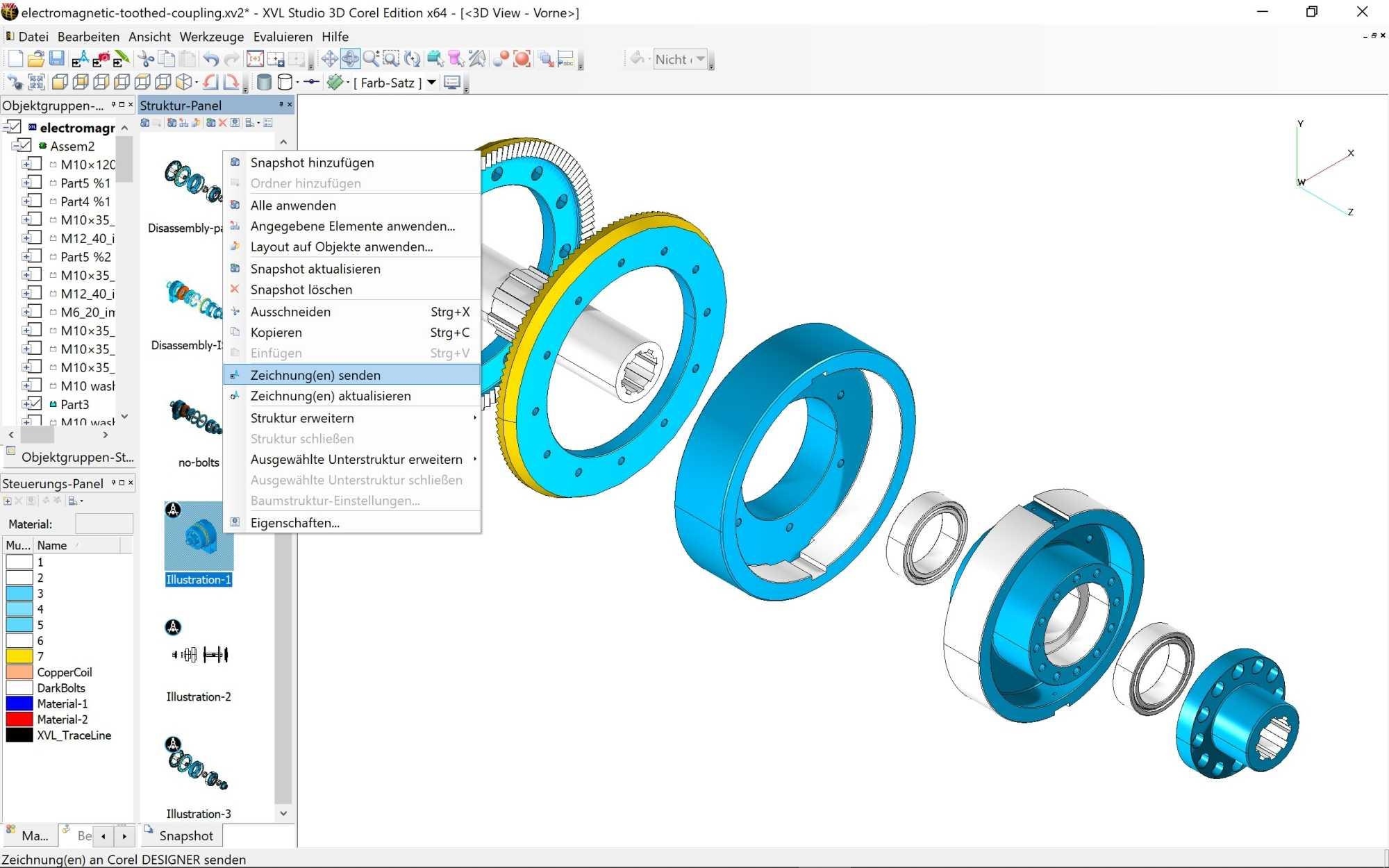 Aus dem XVL Studio 3D CAD Corel Edition lassen sich 3D-Ansichten als Vektorgrafik in den Designer exportieren.