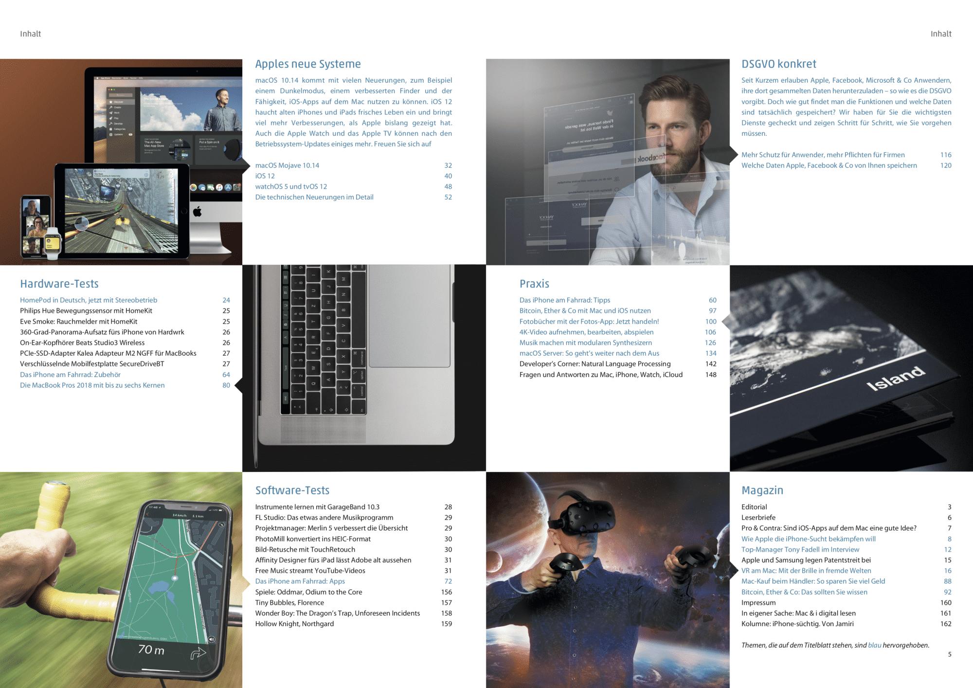 Mac & i Heft 4/2018: Inhaltsverzeichnis