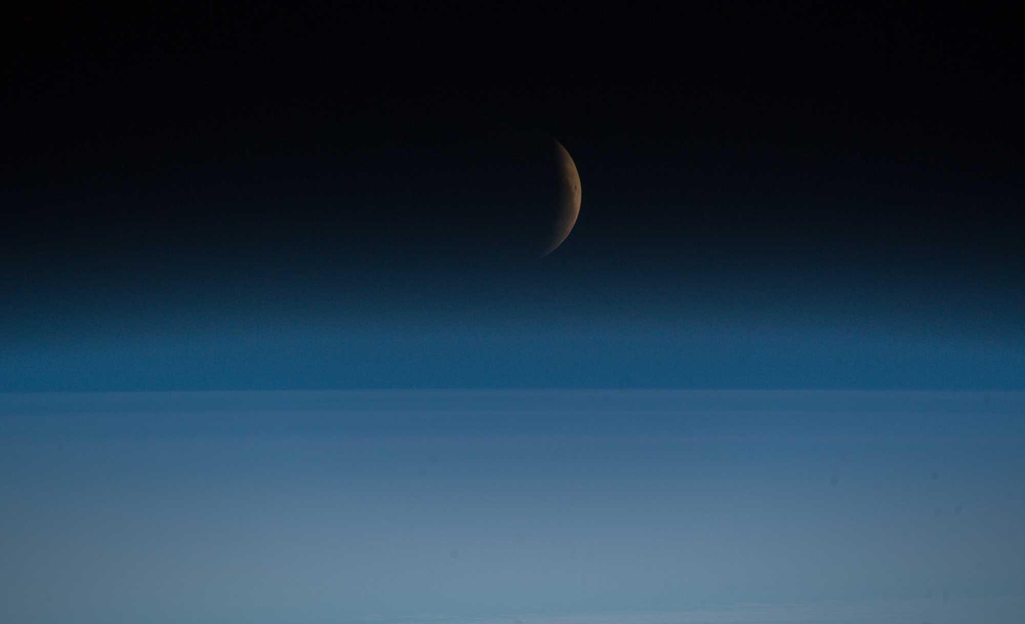 Die partielle Mondfinsternis von der ISS aus