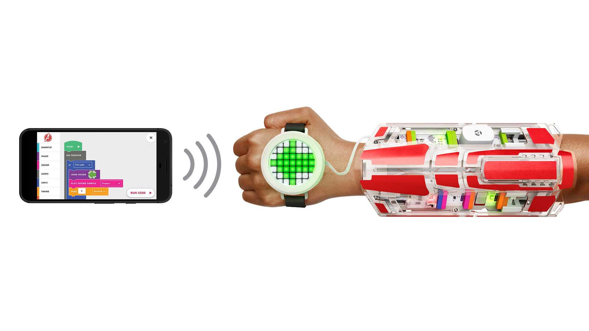 LittleBits-Handschuh und App aus dem Avengers Hero Inventor Kit
