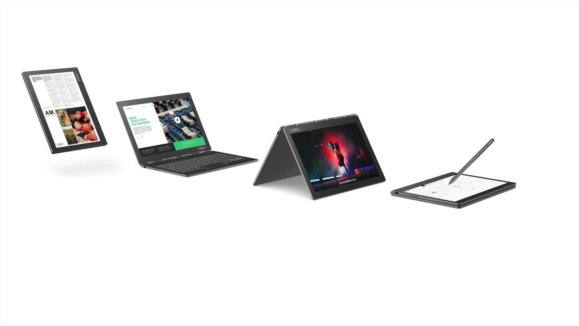 Das Yoga Book C930 hat keine physische Tastatur, sondern einen finger- undstiftbedienbaren E-Ink-Zweitbildschirm.