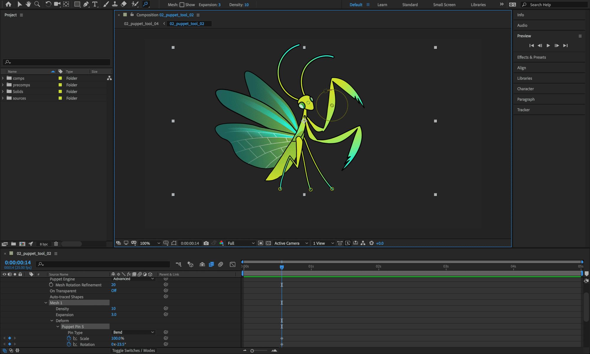 Das Formgitter-Werkzeug in After Effects kann die Pixel um gesetzte Punkte nun drehen und skalieren.