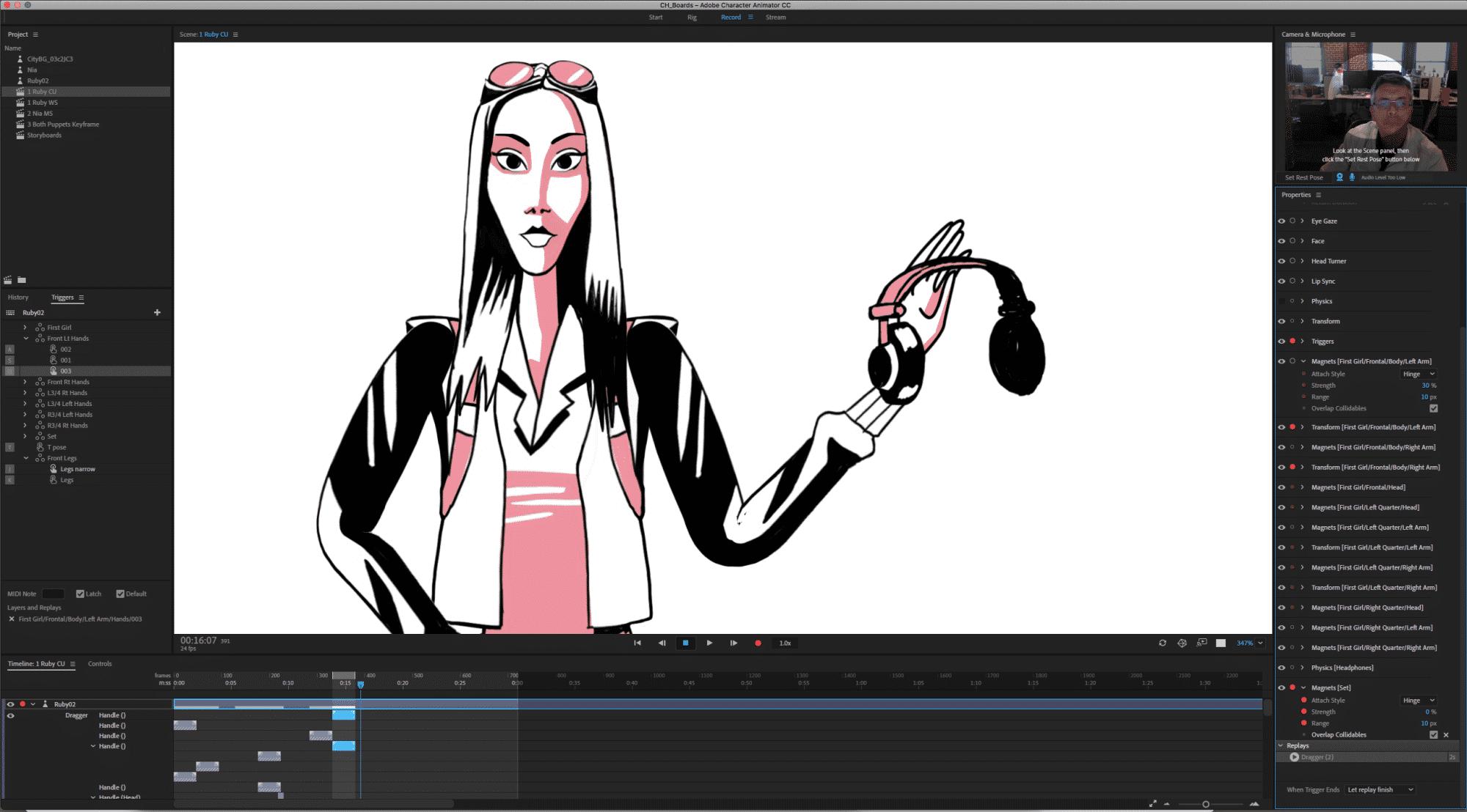 """Ein """"Magnet"""" sorgt in Character Animator dafür, dass die Hand der Figur bei Berührung ein Objekt aufnimmt."""