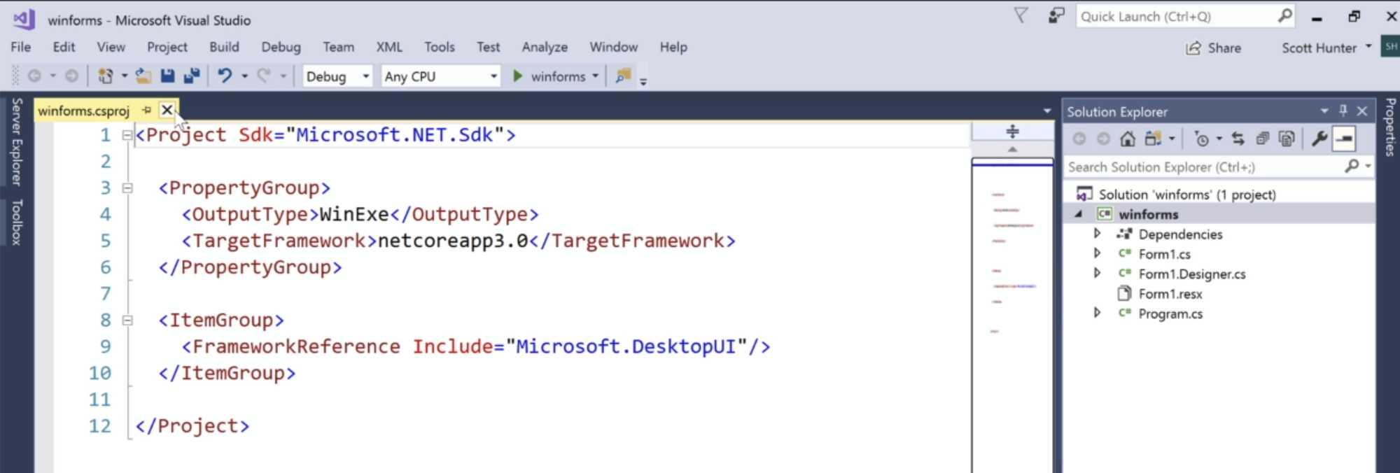 Eine einfache Windows-Forms-Anwendung auf .NET Core 3.0 in Visual Studio 2017