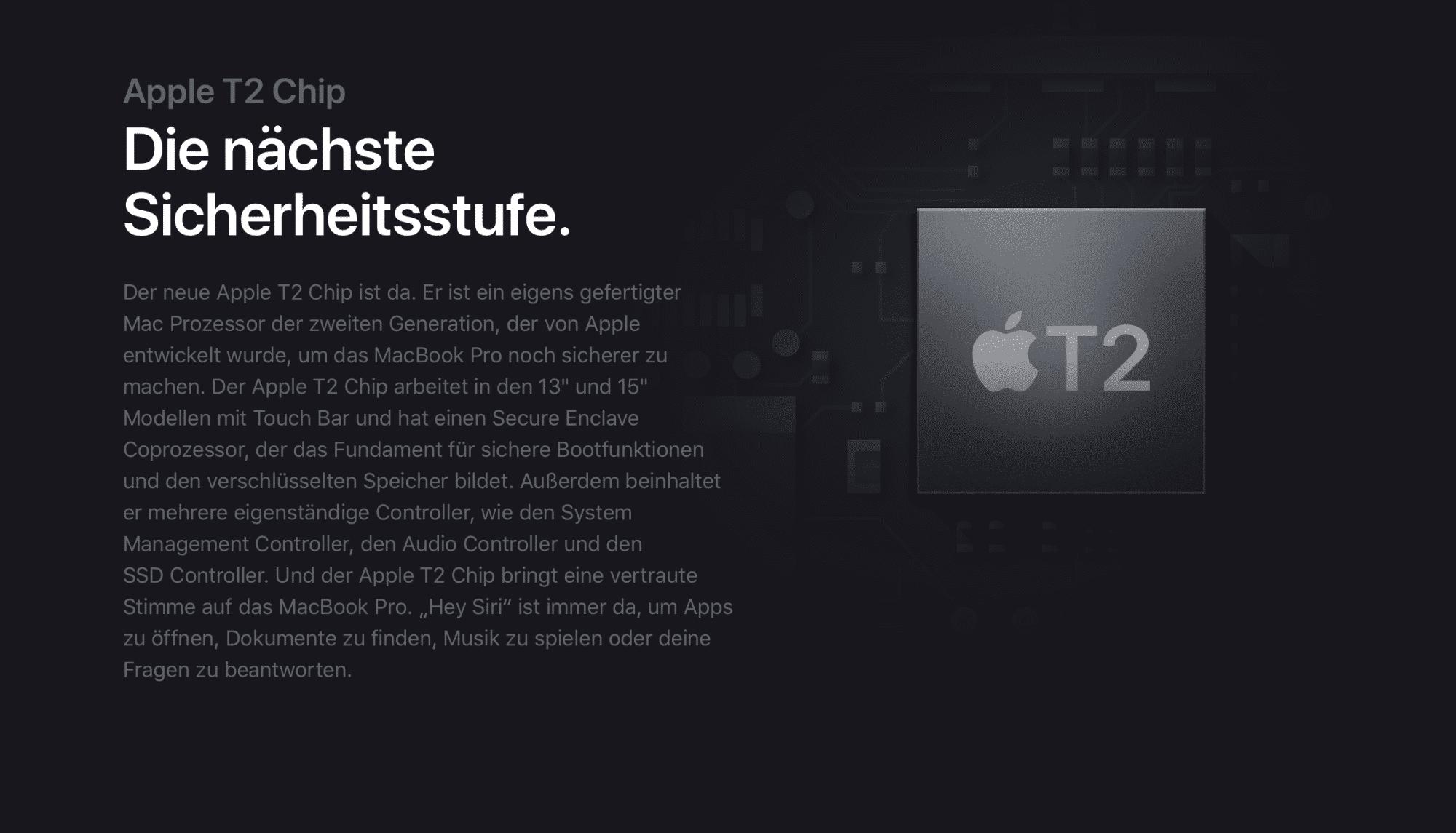 Apples T2-Chip bringt wichtige Sicherheitsfunktionen auf Macs.