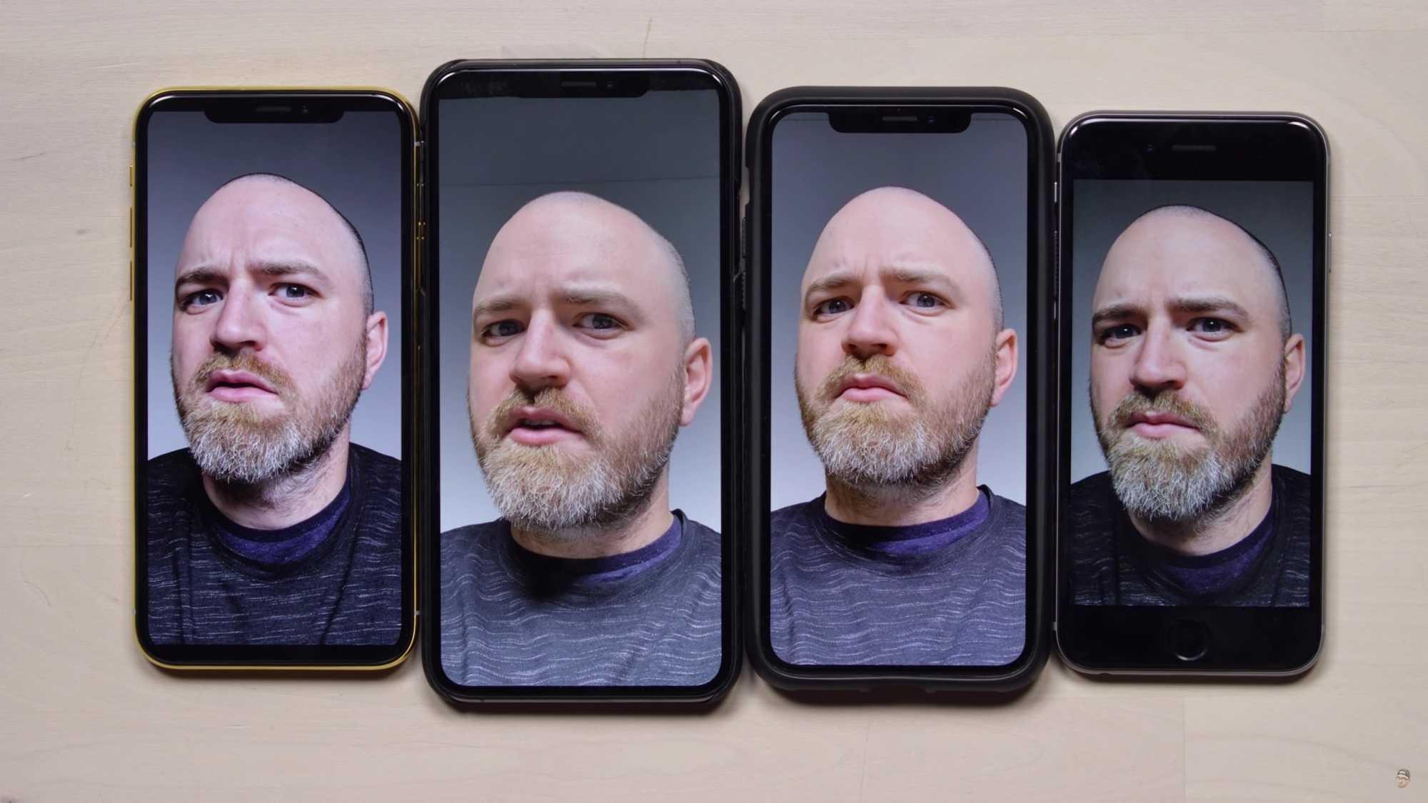 iPhone XS und iPhone XS Max in der Mitte, iPhone X links, iPhone 6 rechts.