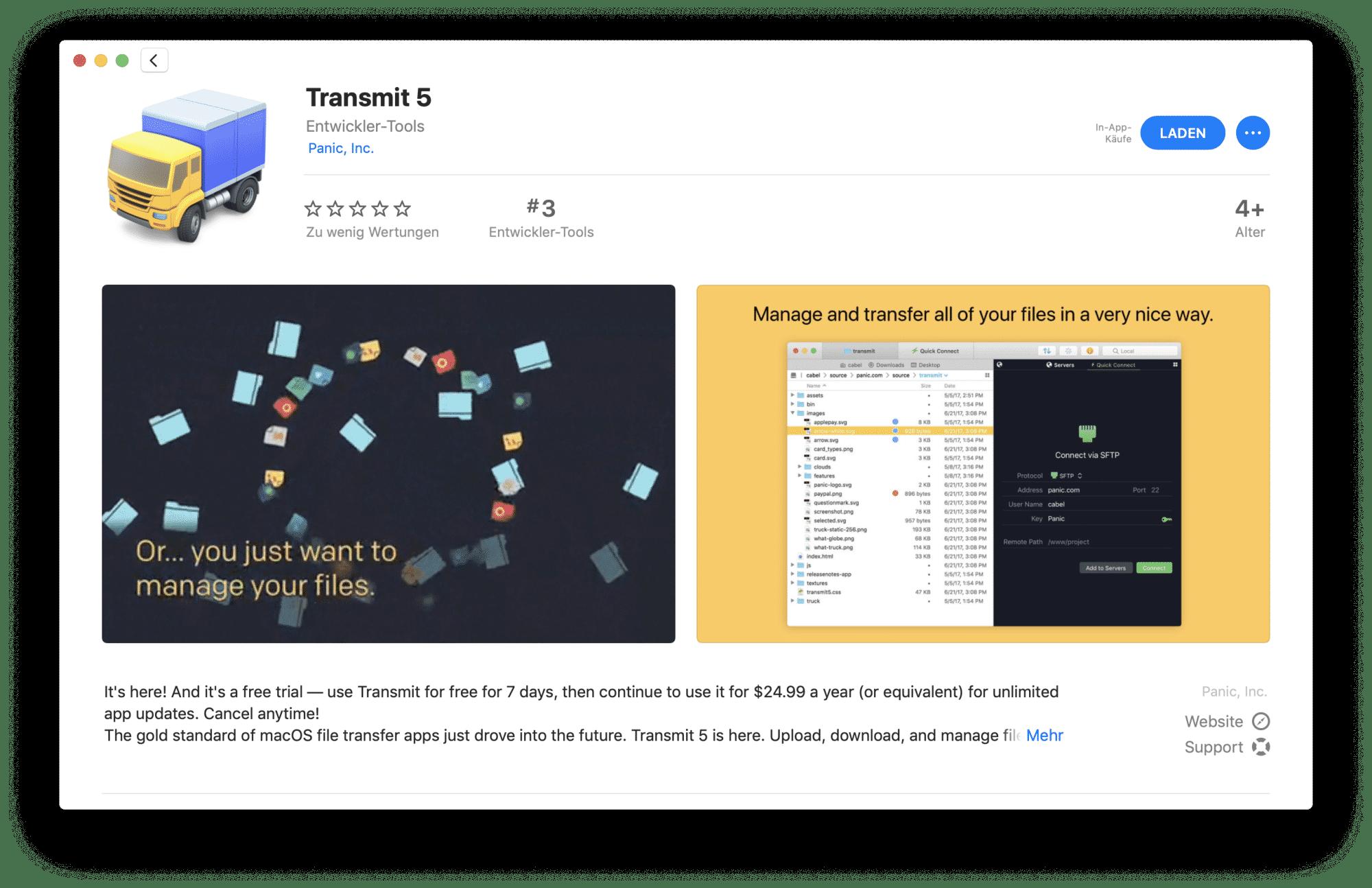 Nach rund anderthalb Jahren zurück im Mac App Store: Panics Transmit.