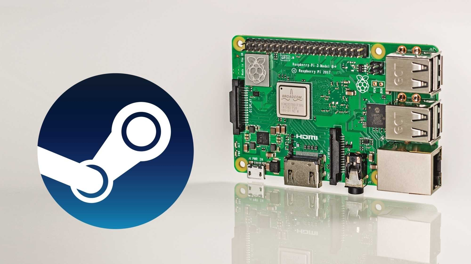 Raspberry Pi neben Steam Logo