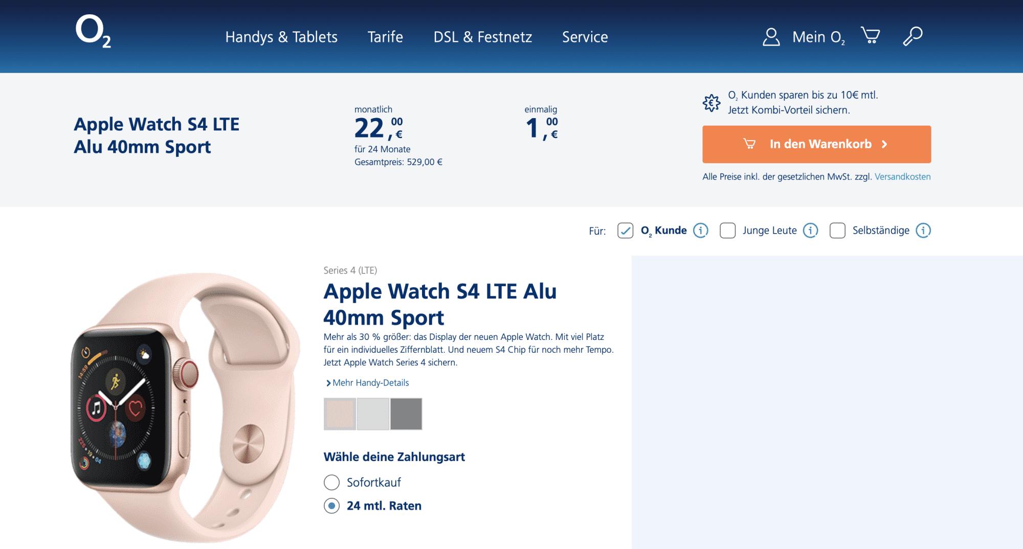 529 Euro –oder 24 Monatsraten für eine Apple Watch.