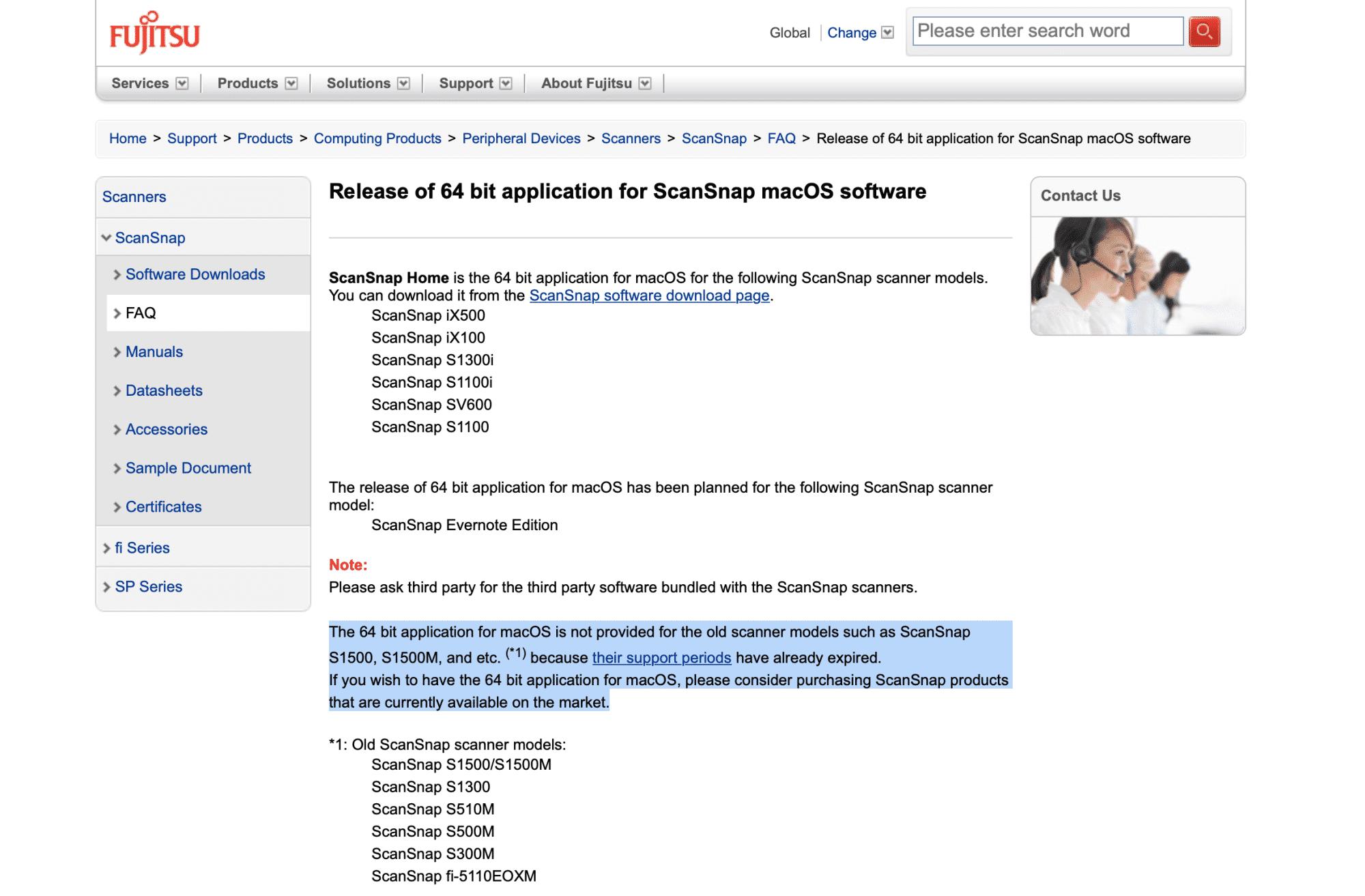 Keine 64-Bit-App für ältere Fujitsu-Scanner.
