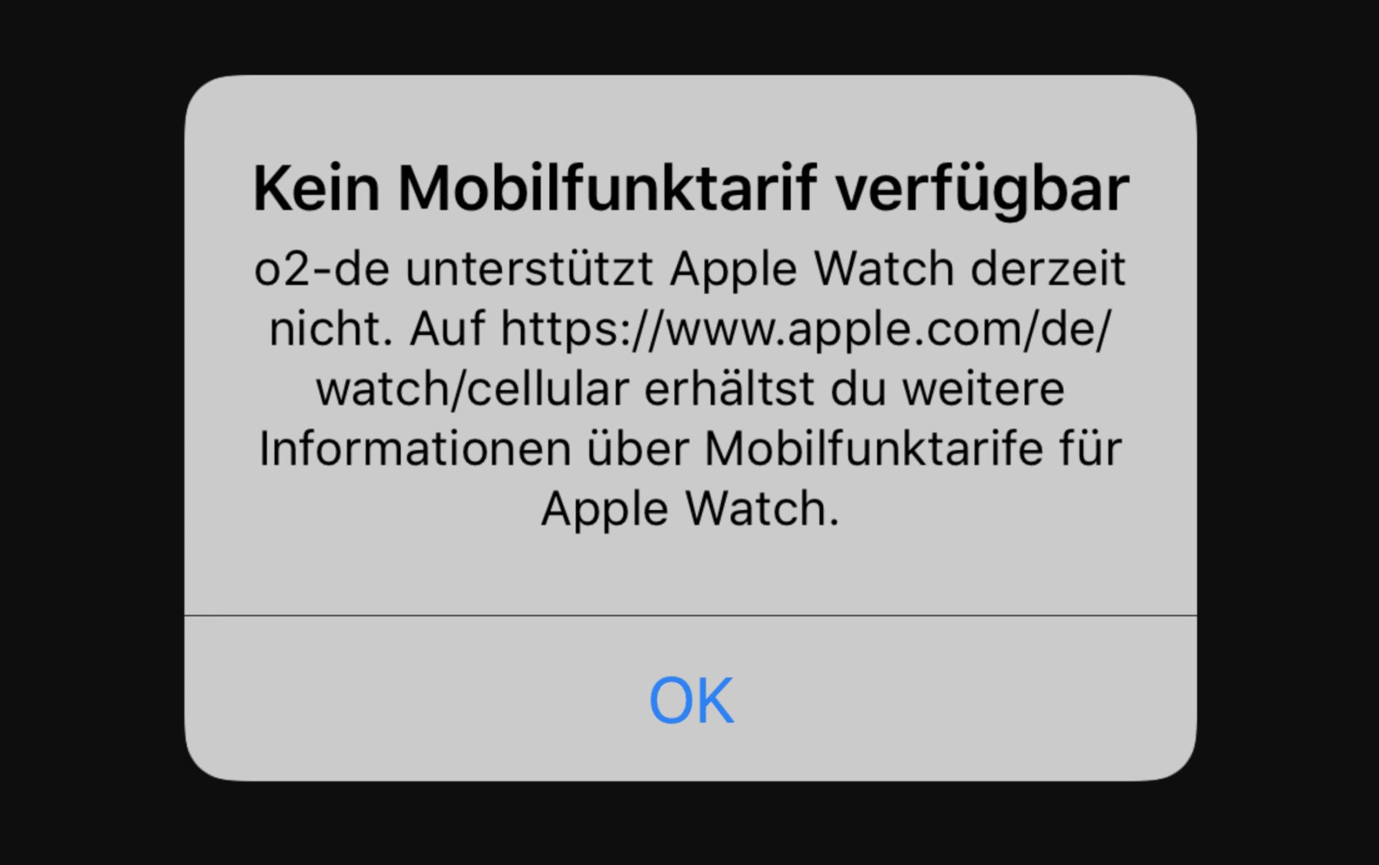 Die Watch-App auf dem iPhone zeigt eine Fehlermeldung an – die Uhr kommt nicht mehr ins O2-Netz.