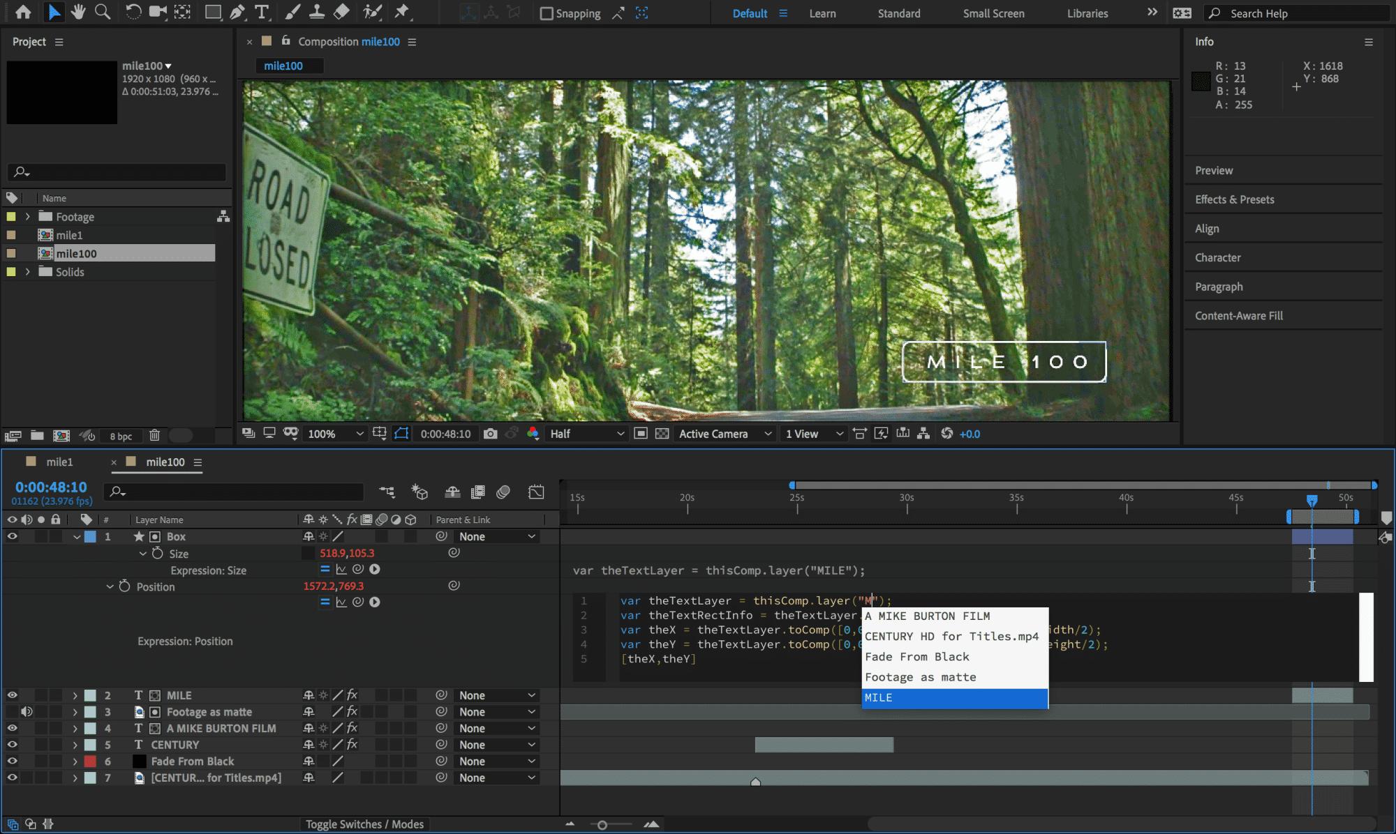Der Expression Editor hilft mit Kontextmenüs beim Zuweisen von Ebenen.