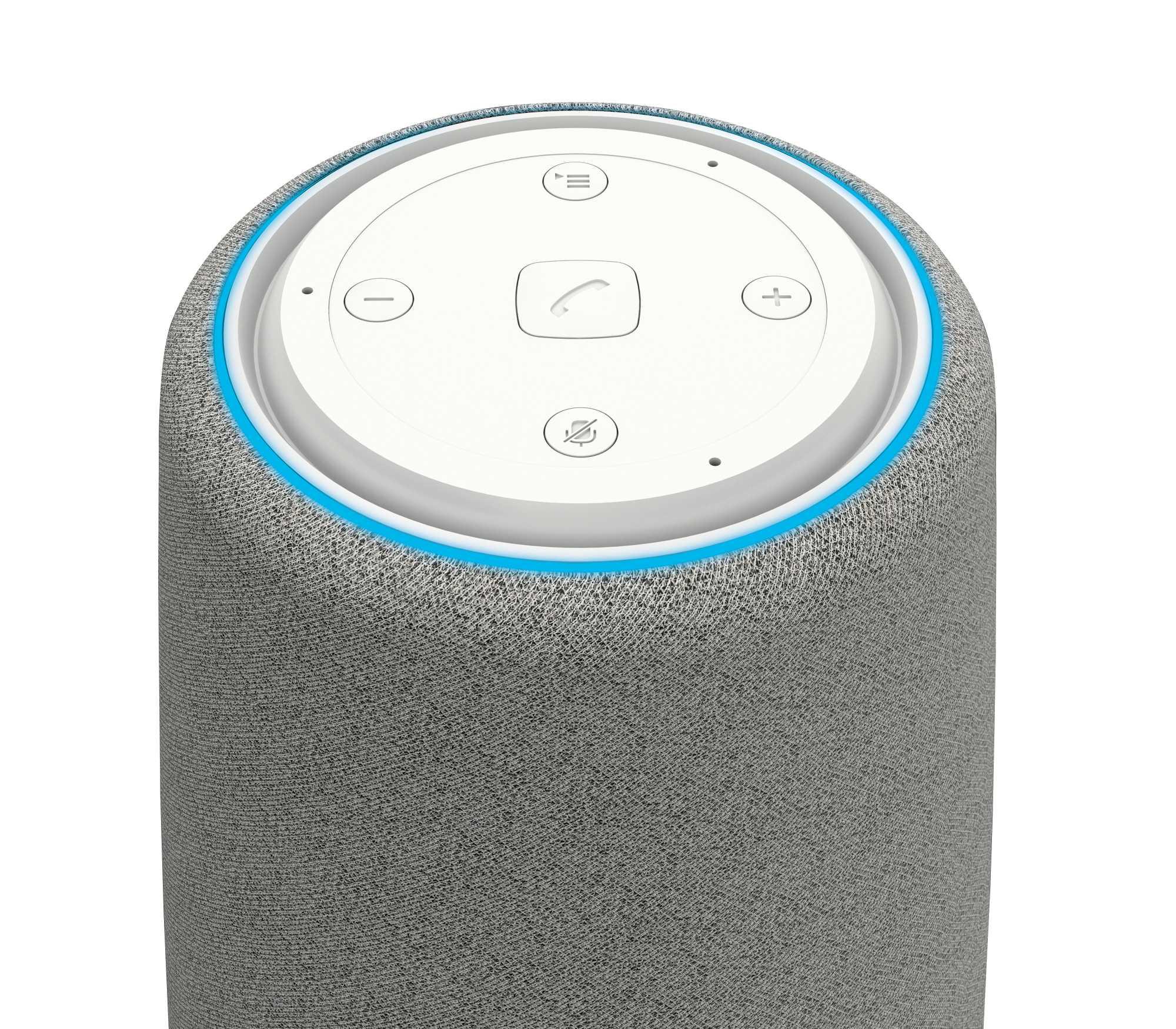 Die drei Mikrofone des Gigaset-Lautsprechers lassen sich per Knopfdruck abschalten.