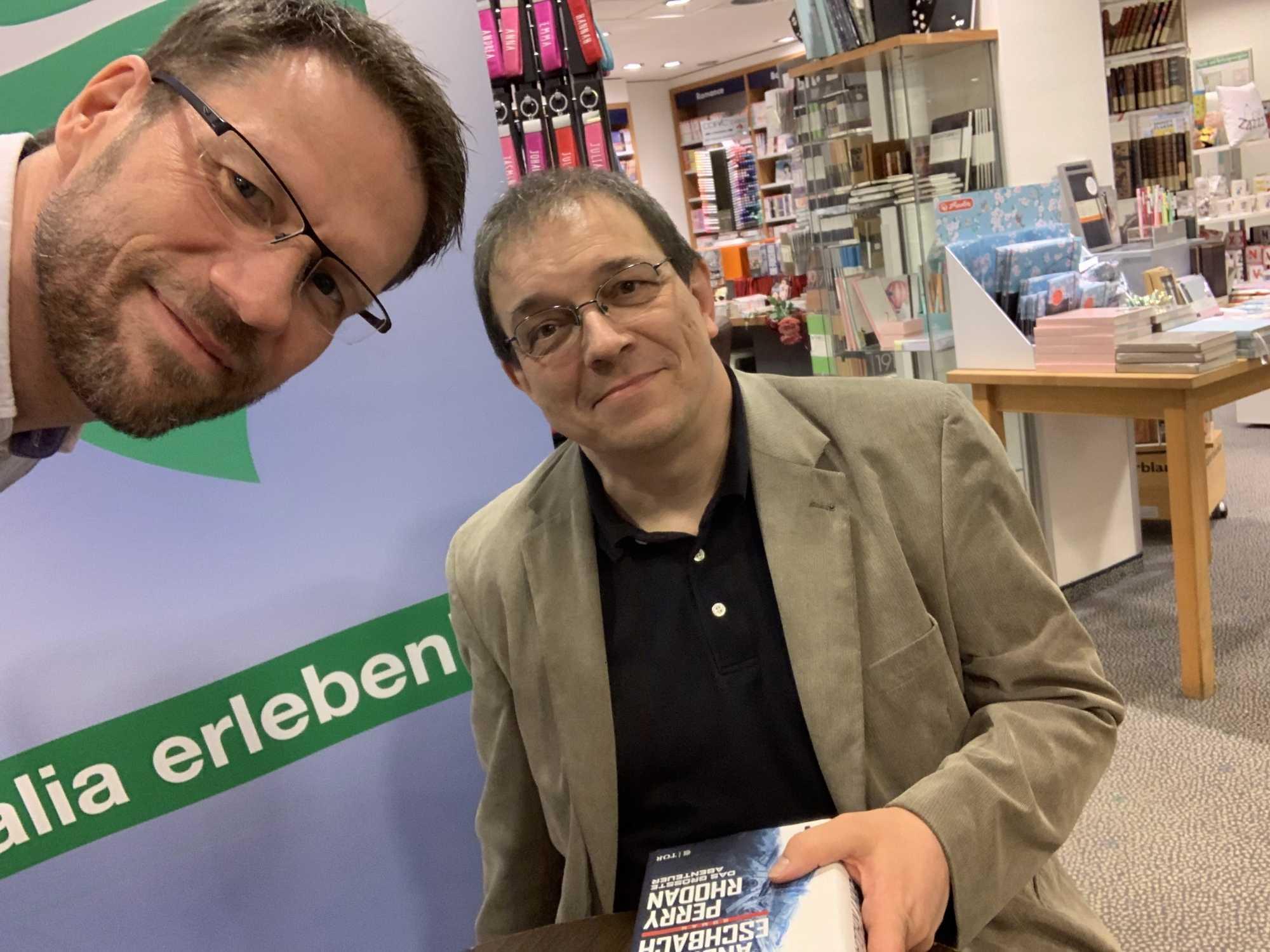 Selfie mit Stephan Ehrmann während einer Lesung im Thalia in Bremen.