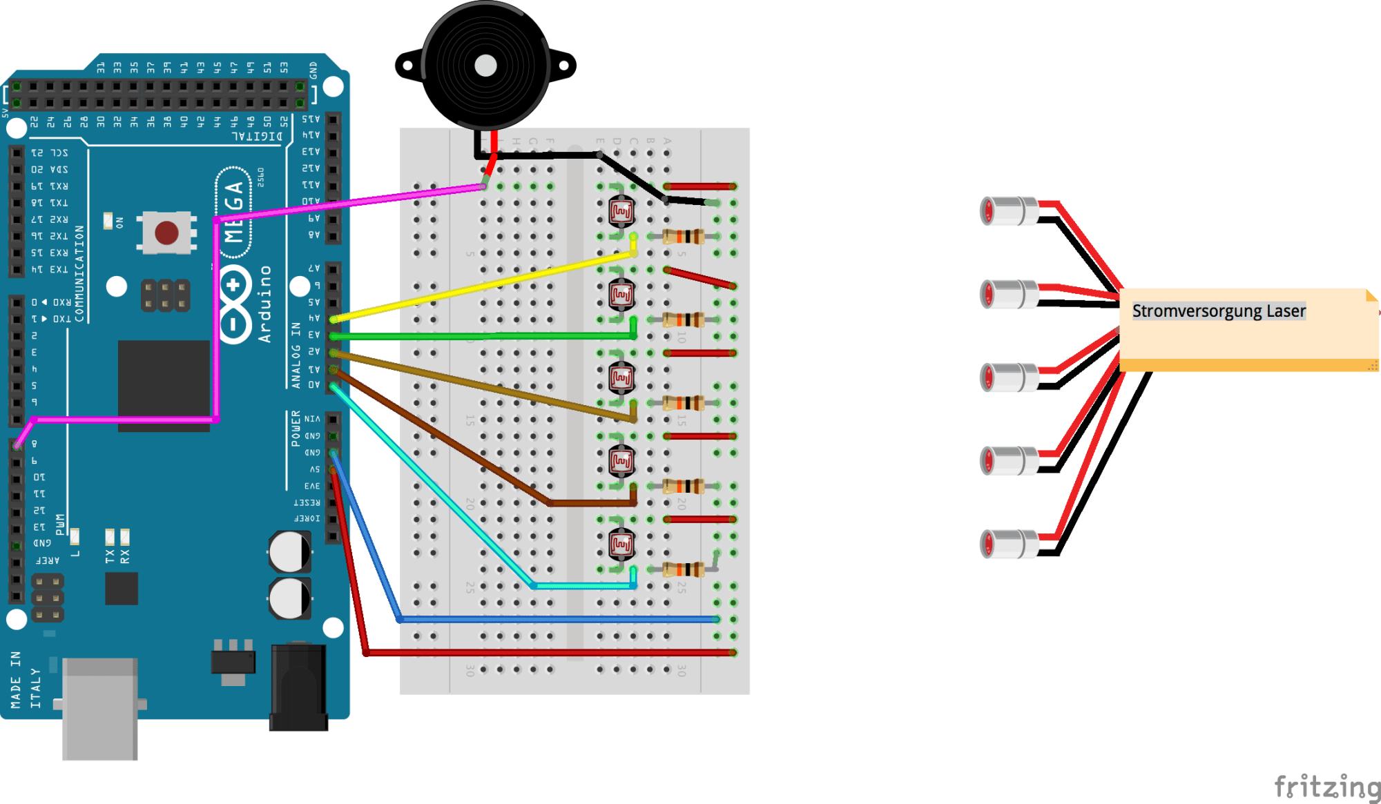 Eine einfache Laserharfe mit Befestigungsrahmen