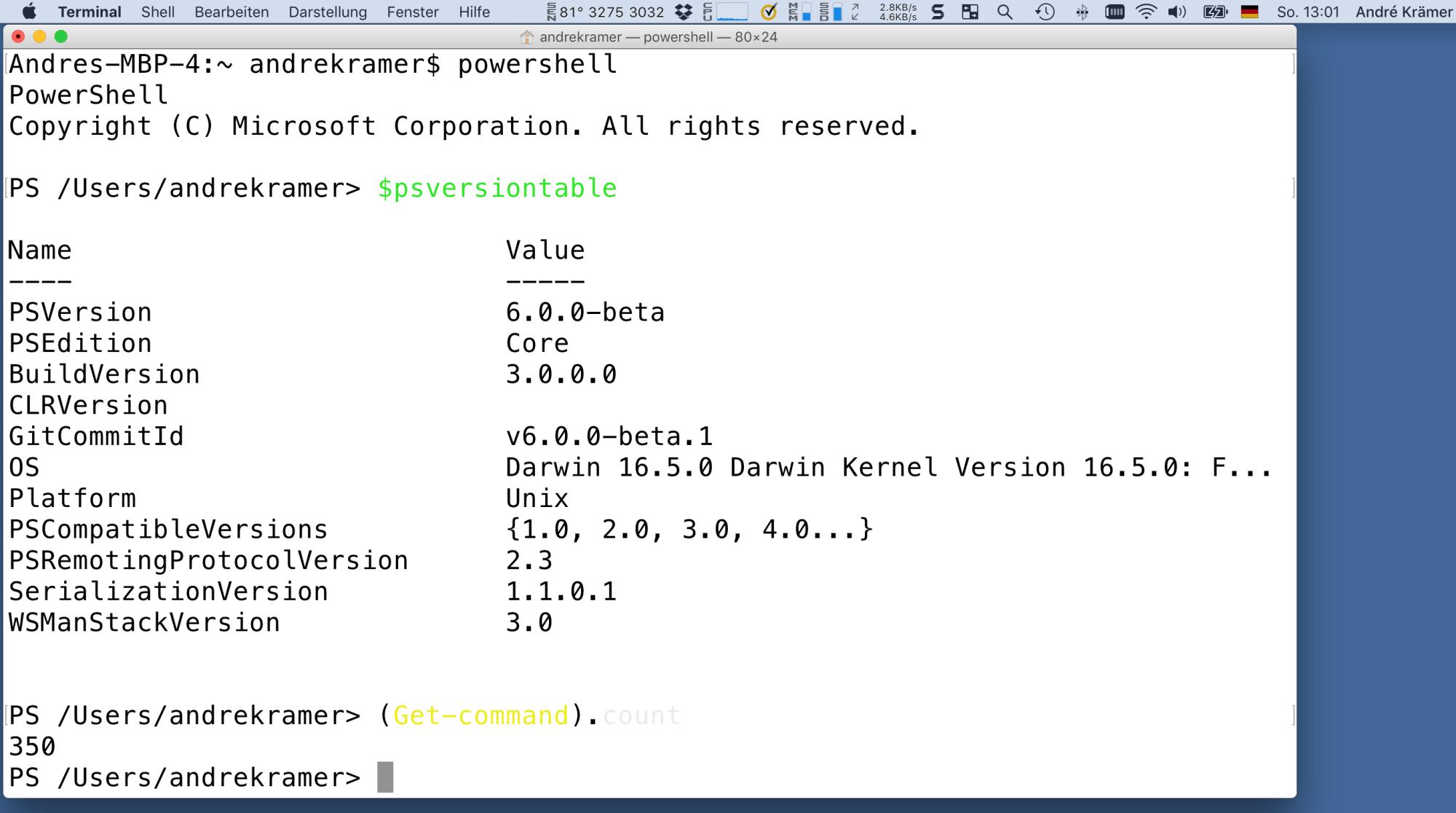 PowerShell Core auf MacOS