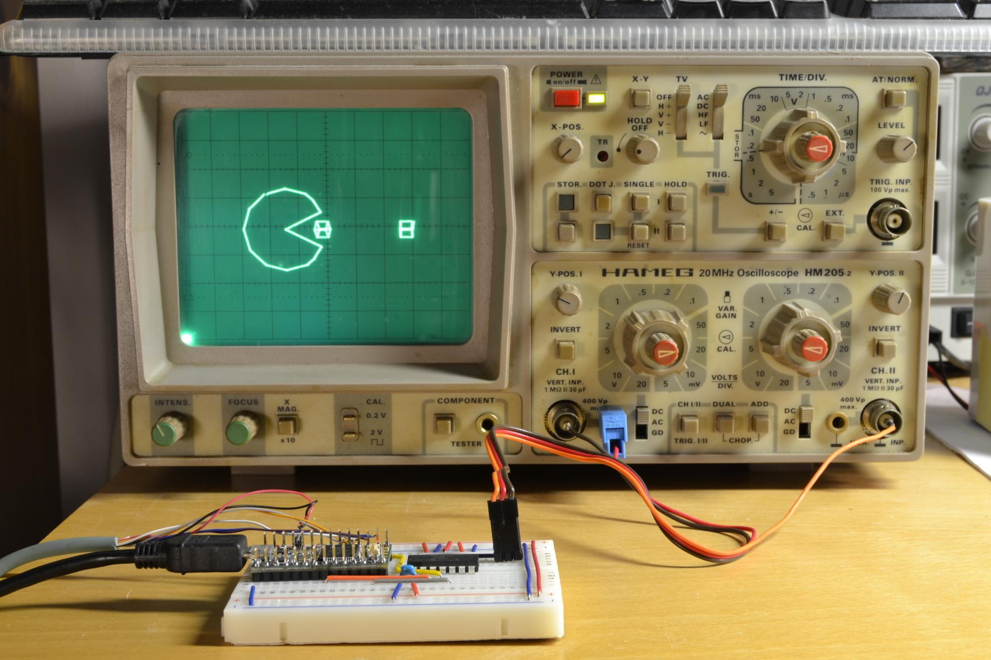 Oszilloskop mit Pacman