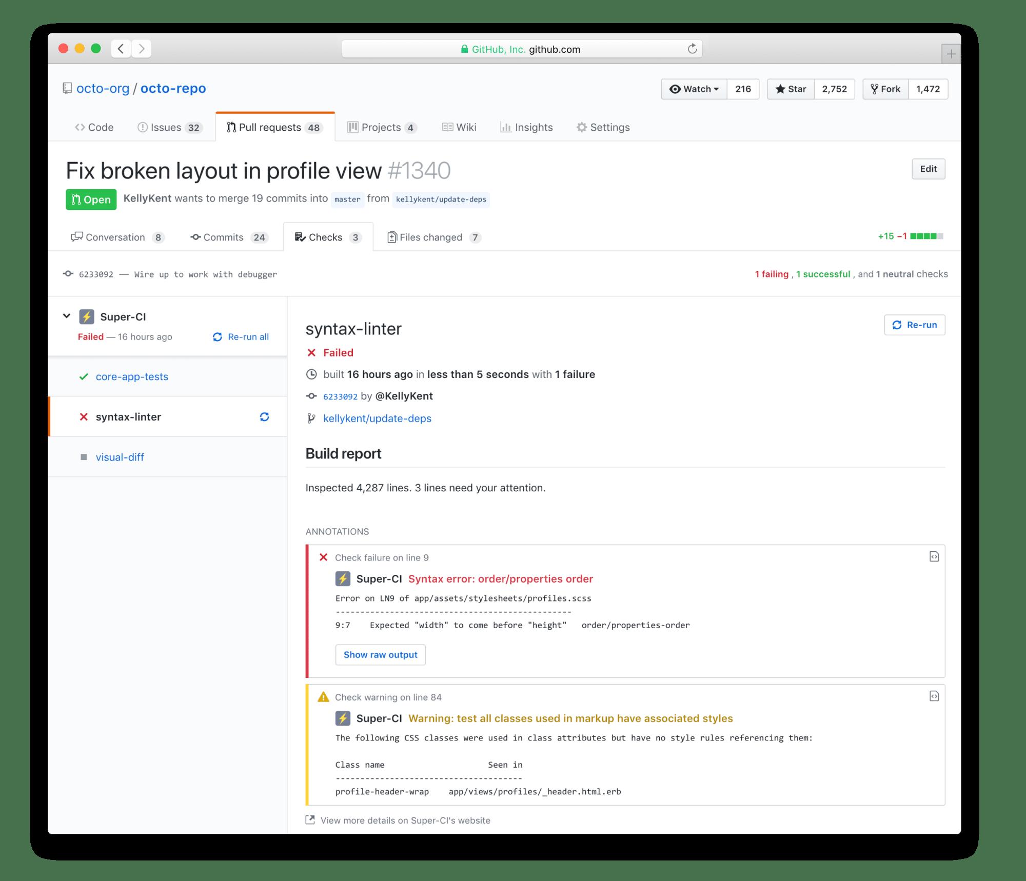 """Neu mit der Checks API: Bei """"Pull Request"""" steht den Entwicklern ein """"Checks""""-Tab zur Verfügung. (Bild: GitHub)"""