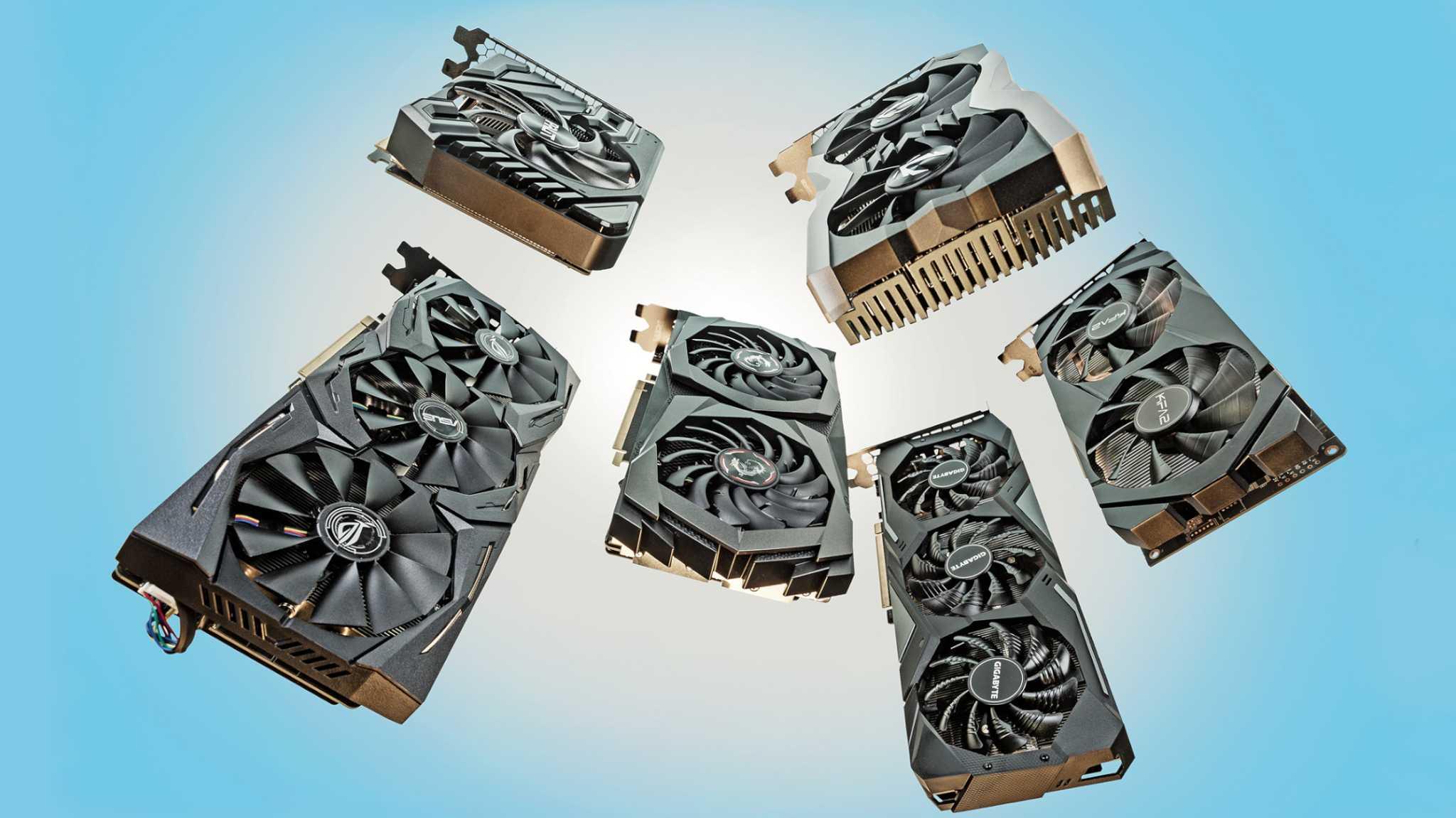 Sechs Grafikkarten mit GeForce RTX 2060