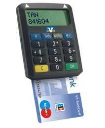 Bei Smart-TAN Plus hat der TAN-Generator ein eigens Display und zeigt dort Kontonummer und Betrag an.