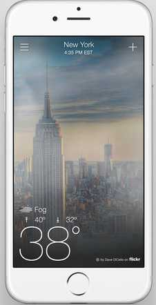 """iPhone zeigt Skyline New Yorks und """"38°"""""""