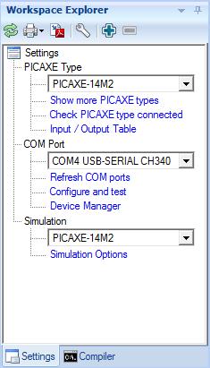 Screenshot der Einstellungen: Picaxe Typ – Picaxe-14M2, COM-Port – USB-Serial CH340