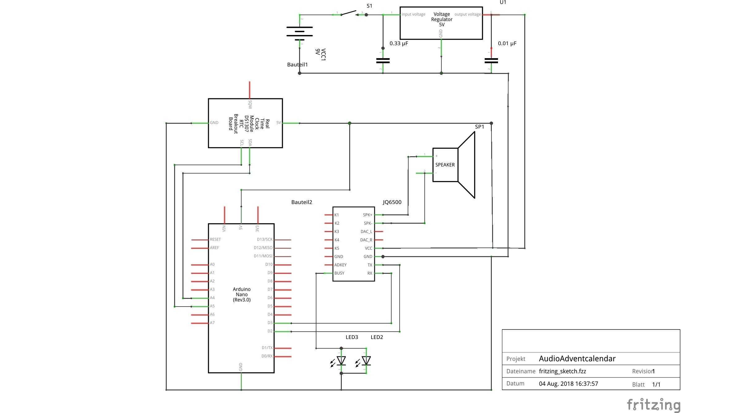 Fritzing-Schaltplan des Audio-Adventskalenders
