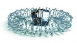 Stacheldraht um Smartphones