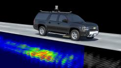 Auto fährt auf Straße, darunter Radarechos