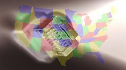 Landkarte zeigt die US-Staaten so, dass zwei benachbarte Staaten nie die selbe Farbe habe