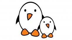 Zwei Comic-Pinguine vor weißem Hintergrund