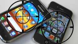 Telefone von Samsung und Apple