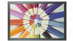 Farbiges E-Paper-Display zeigt Monitorauflösung