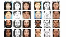 Neuronales Netz generiert aus Zeichnungen Porträt-Fotos