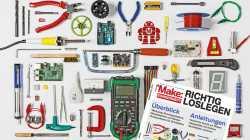 """Viele elektronische Bauteile und der Titel des Make-Sonderhefts """"Richtig loslegen"""""""