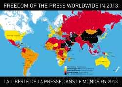 Weltkarte über Pressefreiheit