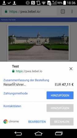 Payment Request API auf Mobilgeräten