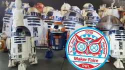Logo Maker Faire OWL 2019 neben R2-D2.