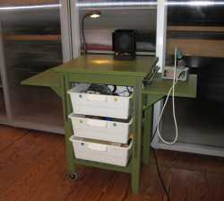 Ein IKEA-Servierwagen Bekväm, umgebaut zu einer einer grünen Werkbank mit weißen Schubladen und angebauten Seitentischen