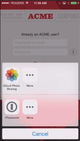 Dritt-Apps können ebenfalls Benutzer-Accounts aus 1Password beziehen – mit iOS 8