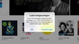 iTunes Store Speicher voll