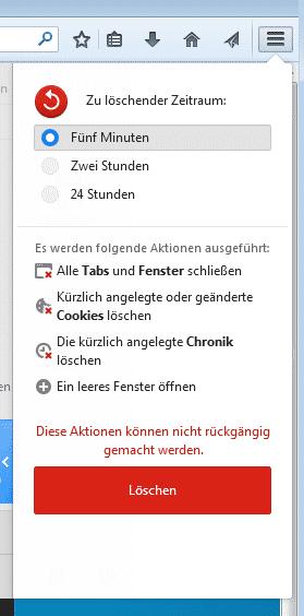 Auf Knopfdruck vergisst Firefox Cookies und die Chronik.