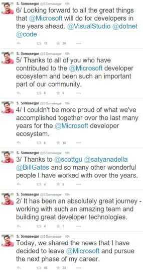 Somasegar verabschiedet sich in sechs Tweets von Microsoft.