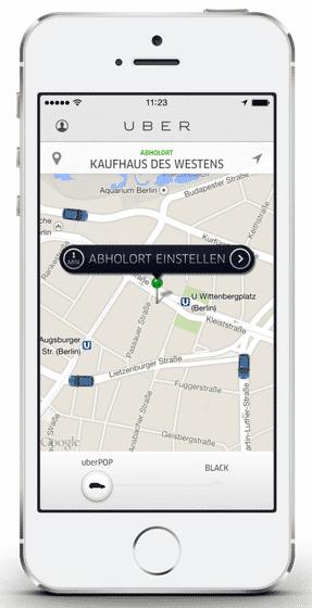 Uber-App auf dem Smartphone: Die Vermittlung von privaten Fahrern, die Taxifahrten ersetzen, ist umstrittenh